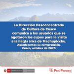 Los cupos gratuitos a Machu Picchu se agotaron