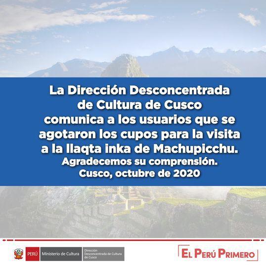 Machu Picchu Agotado Comunicado 2020