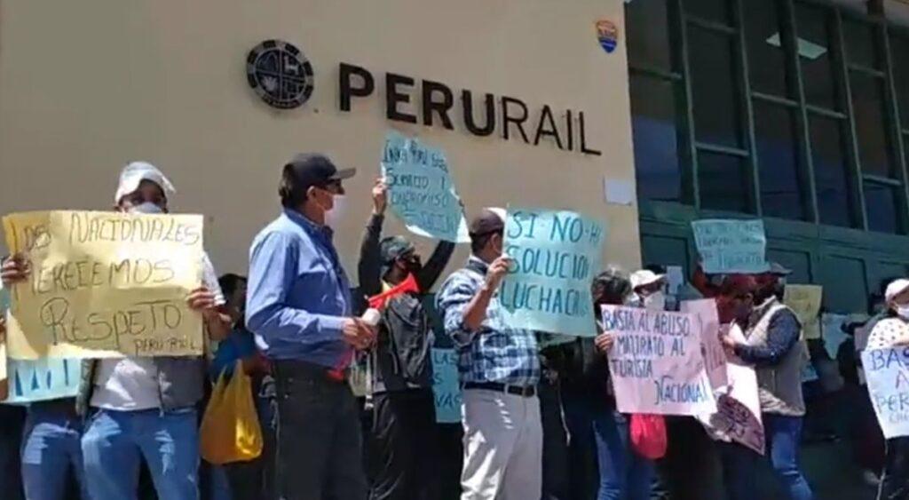 Protestas contra Peru Rail e Inca Rail 2020 Cusco